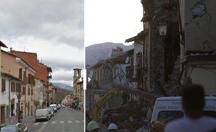 Amatrice, avant et après le séisme, le 24 août 2016.