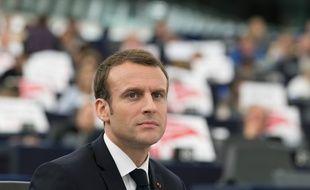 Emmanuel Macron au Parlement européen à Strasbourg, le 17 avril 2018.
