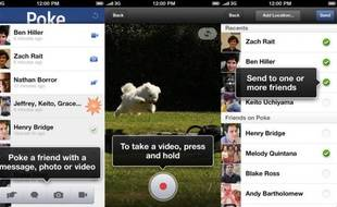 L'app Poke de Facebook sur iPhone.