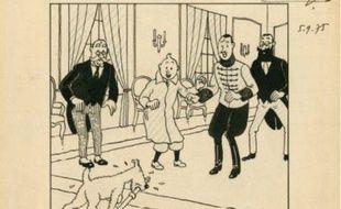 Une encre de Chine et crayon réalisée en 1939 par Hergé à l'époque de la publication du «Sceptre d'Ottokar» a été vendu 539.880 euros aux enchères.