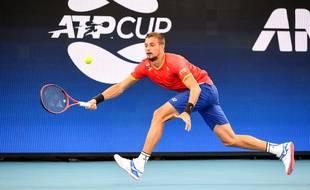 Le Moldave Alexander Cozbinov lors d'un match d'ATP Cup contre la Belgique à Sydney, le 3 janvier 2020.