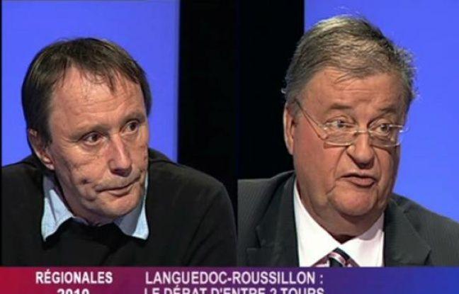 Michel Crespy et Georges Frêche, sur le plateau de 7LTV lors des régionales en mars.