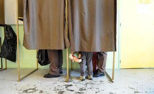 Illustration isoloirs. bureau de vote.