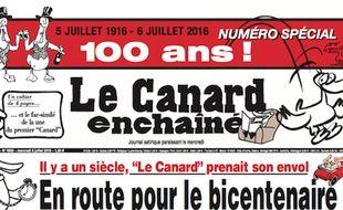 Une du numéro spécial du «Canard enchaîné» pour ses 100 ans