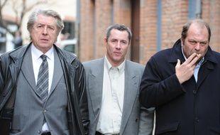 Jacques Viguier et ses avocats Maitre Jacques Levy et Eric Dupond moretti . Proces en appel de Jacques Viguier au Tribunal d'Albi.