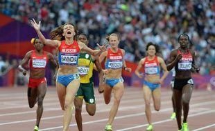 La Russe Mariya Savinova lors de son titre de championne olympique sur 800m aux Jeux olympiques de Londres, le 11 août 2012.