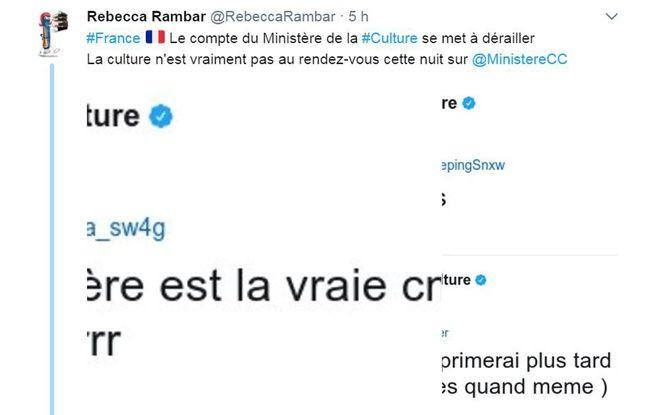 Le compte Twitter du ministère de la Culture a été détourné, ce qui n'a pas échappé aux internautes