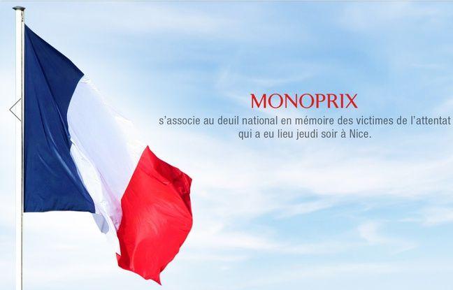 Monoprix rend hommage aux victimes de l'attentat de Nice sur son site officiel.