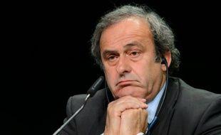 Michel Platini en conférence de presse à Zurich le 28 mai 2015