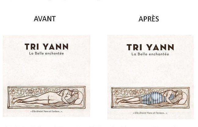 La pochette de «La belle enchantée» avant et après modification.