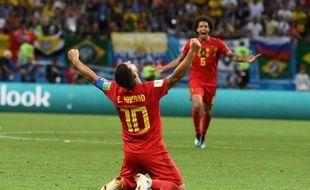 Eden Hazard célèbre la qualification contre le Brésil, le 6 juillet 2018.