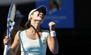 Le tenniswoman Na Li, lors de sa victoire en demi-finale de l'Open d'Australie face à Caroline Wozniacki.