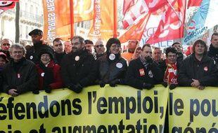 Jean-Claude Mailly (FO), François Chérèque (CFDT) et Bernard Thibault (CGT) en tête de la manifestation parisienne du 29 janvier 2009