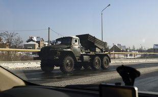 Un lance-roquettes Katioucha des séparatistes à Donetsk, en Ukraine, le 3 décembre 2014.