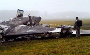 Image tirée d'une vidéo réalisée par le Comité d'investigation russe de l'épave de l'avion dans laquel a trouvé la mort le Pdg de Total, à l'aéroport de Moscou, le 21 octobre 2014