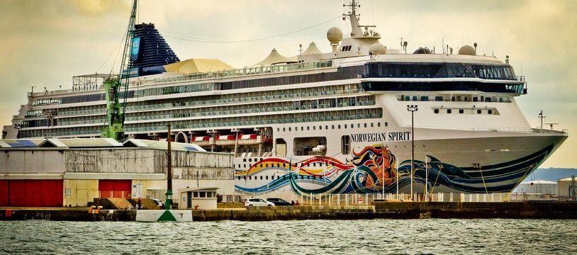 Un paquebot au port du Havre le 31 août 2019.