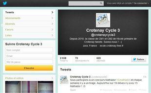 Le profil twitter de la classe de CM1 et CM2 de l'école de Crotenay.