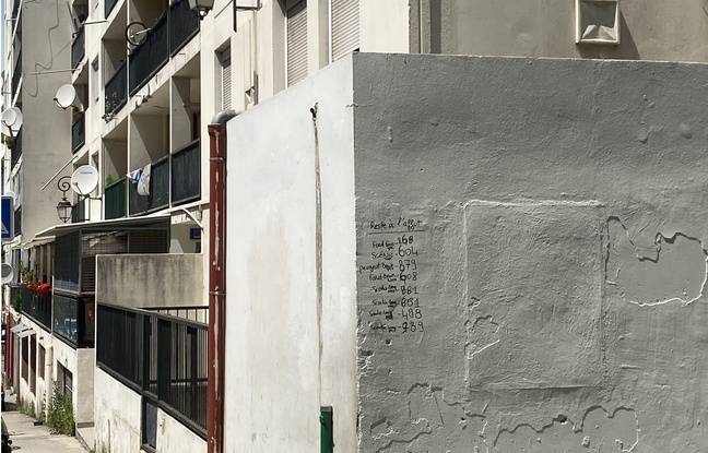 Dans le quartier des Liserons, à la vue de tout le monde, sont écrit sur ce mur, les plaques d'immatriculation de voitures à surveiller.