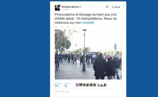 Capture d'écran d'un tweet de Christian Estrosi, le 18 janvier 2015.