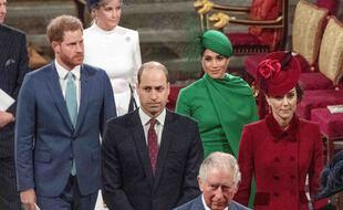 La famille royale britannique à Londres le 9 mars 2020.