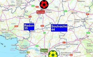Redon et Soulvache, deux villes situées sur la ligne frontalière entre l'Ille-et-Vilaine et la Loire-Atlantique.