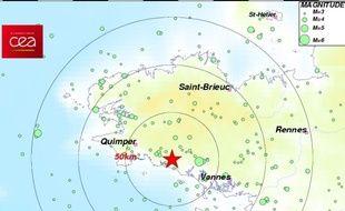 Capture d'écran du site du CEA qui a enregistré un séisme, le 8 mai près de Quimperlé.