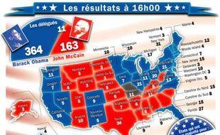 Les résultats partiels de l'élection américaine le 5 novembre 2008 à 16h