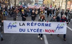 Illustration d'une manifestation contre la réforme Blanquer.