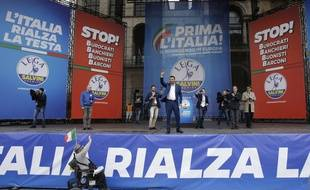 Matteo Salvini à Milan le 18 mai 2019 dans le cadre de la campagne pour les élections européennes