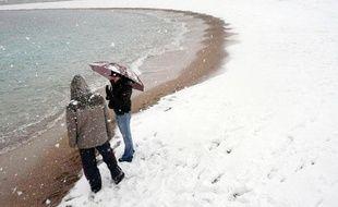 La plage de Marseille sous la neige, le 7 janvier 2009.
