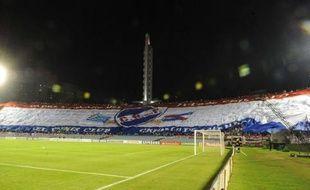 """Les supporters du club uruguayen de Nacional ont déployé jeudi dans les tribunes de leur stade du Centenario de Montevideo ce qu'ils présentent comme """"le plus grand drapeau du monde"""" à l'occasion du match de Copa Libertadores contre les Mexicains de Toluca."""