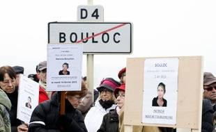 Lors de la marche silencieuse en hommage à Patricia Bouchon, la joggeuse tuée il y a un an à Bouloc. 14/02/11 Bouloc