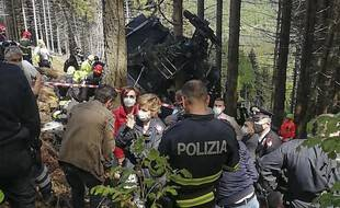La cabine du téléphérique accidenté, près de Stresa.