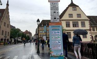 Nouvelle signalétique pour les livraisons. Strasbourg le 31 août 2018.