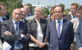 Gérard Collomb et François Hollande lors de la visite du président de la République à Lyon, le 1er juillet 2015.