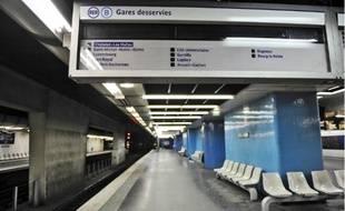 Un quai du RER B, géré par la RATP.