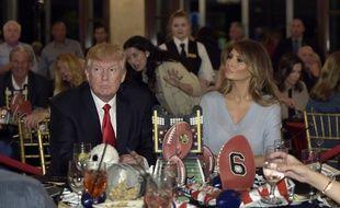 Le président Donald Trump et sa femme Melania à Palm Beach, dans la salle où ils ont regardé la finale du Super Bowl le 5 février 2017.