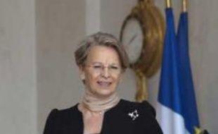 Michèle Alliot-Marie, la ministre de la Justice, à la sortie du conseil des ministres, le 1er juillet 2009.