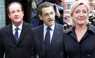 Montage photo de François Hollande, Nicolas Sarkozy et Marine Le Pen.