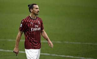 Zlatan Ibrahimovic sous le maillot du Milan AC lors du match contre la Juventus, le 7 juillet 2020.