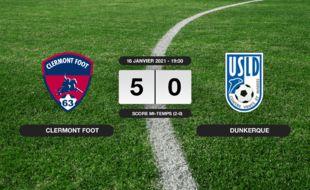 Ligue 2, 20ème journée: L'USL Dunkerque sort du stade Gabriel-Montpied sur une victoire écrasante du Clermont Foot