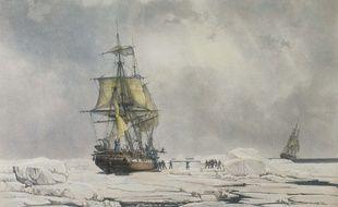 La corvette l'Astrolabe prise au piège de la banquise en février 1838.
