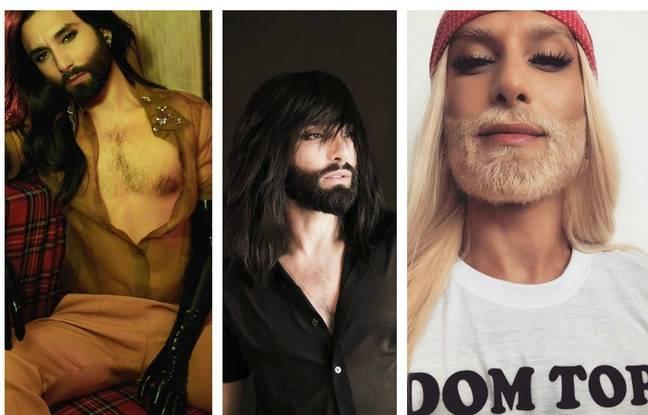 Trois (auto)portraits postés sur le compte Instagram de Conchita Wurst.