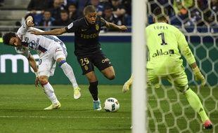 Kylian Mbappé lors du choc entre Lyon et Monaco (1-2), le 23 avril 2017.