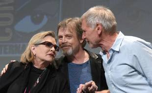 Carrie Fisher, Mark Hamill, et Harrison Ford au Comic Con de San Diego le 10 juillet 2015.