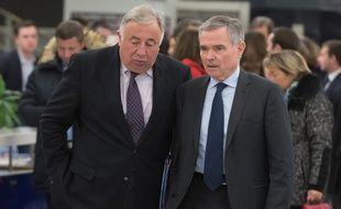 Gérard Larcher, président du Sénat, et Bernard Accoyer, député de Haute-Savoie, le 29 novembre 2016 au siège de LR à Paris