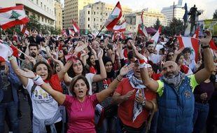 Des manifestants antigouvernement chantent des slogans à Beyrouh, le 3 novembre 2019.