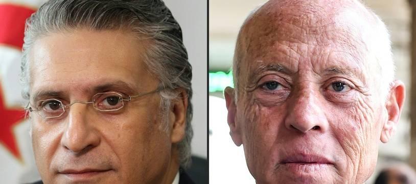 Ce dimanche, les électeurs tunisiens doivent élire leur futur président en choisissant entre Nabil Karoui (à gauche) et Kais Saied (à droite).