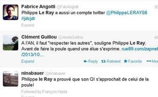 Les internautes se moquent de Philippe Le Ray, député UMP, qui a fait la poule pour humilier une députée écologiste, le 9 octobre 2013.