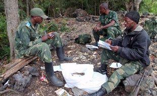 Des soldats de la RDC dans une zone reprise aux rebelles rwandais des FDLR, le 11 mars 2014 près de Tongo, à 45 km de Goma